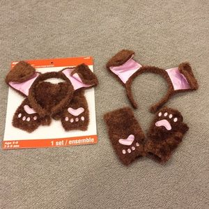 Other - NWT Kids dog costume set headband & glove Brn Pink